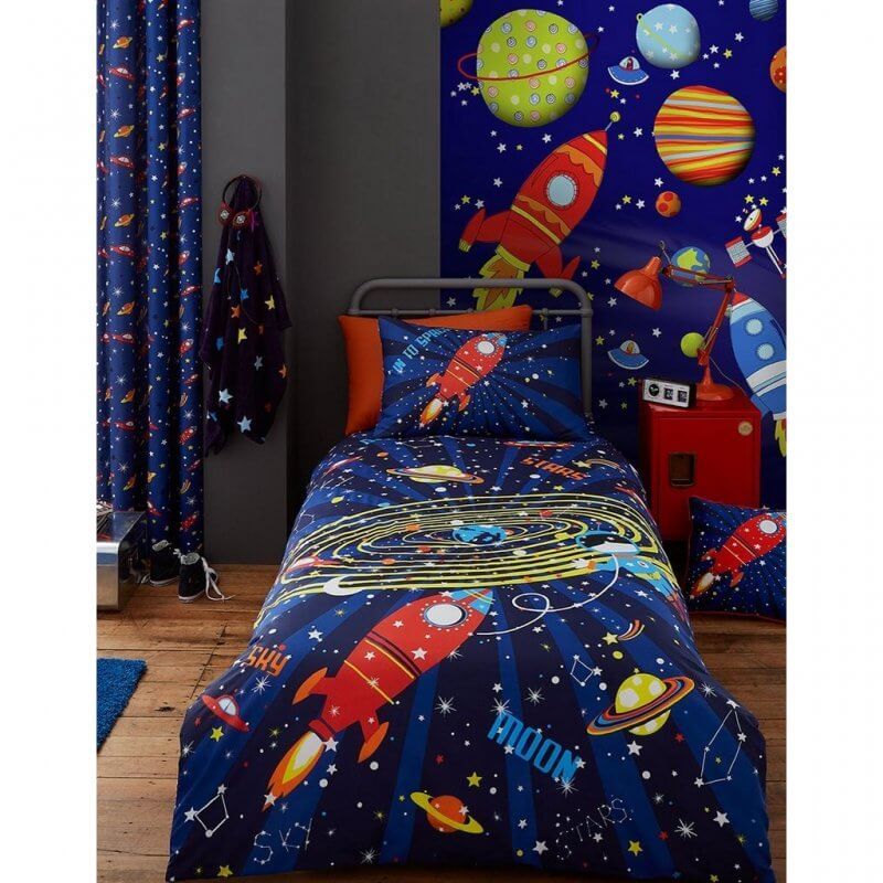 Outer space theme duvet cover and pillowcase