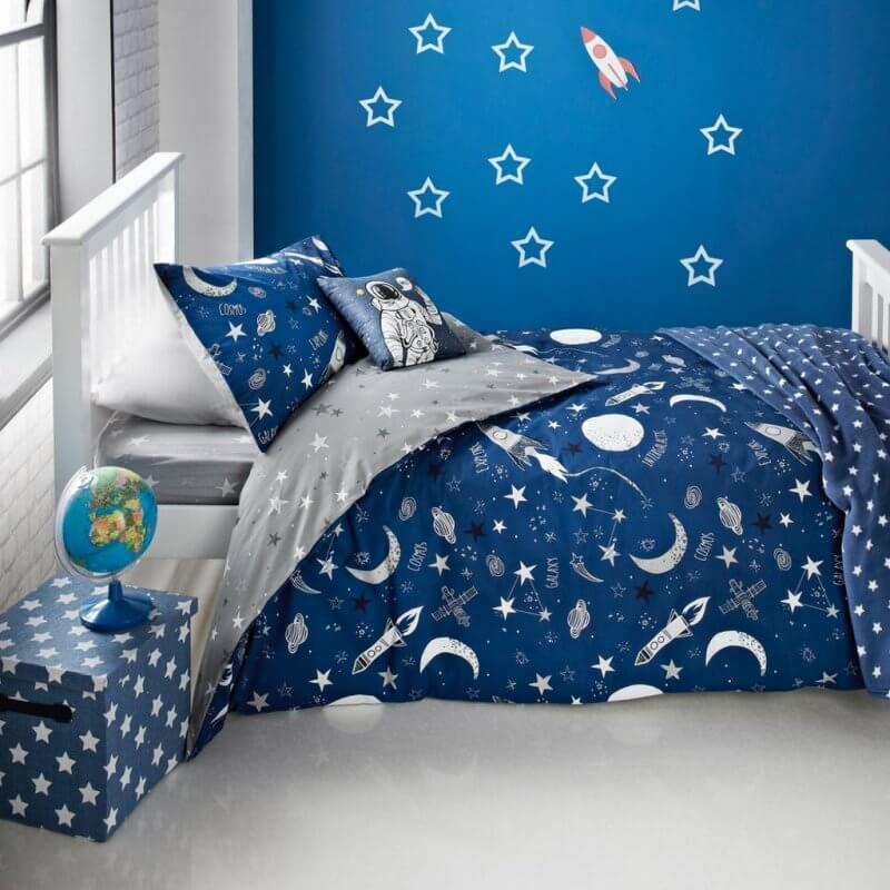 Navy and grey space themed bedding set