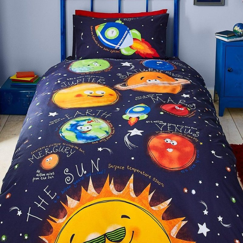 Bold planets themed bedding