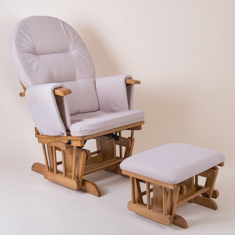 Glider chair and footstool with grey cushions