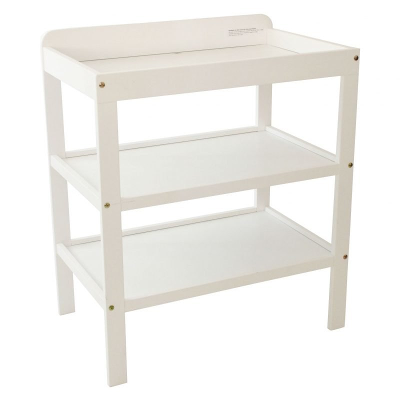 White painted changing table with 2 shelves