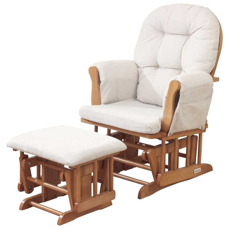 Natural wood glider chair with cream fabric upholstery