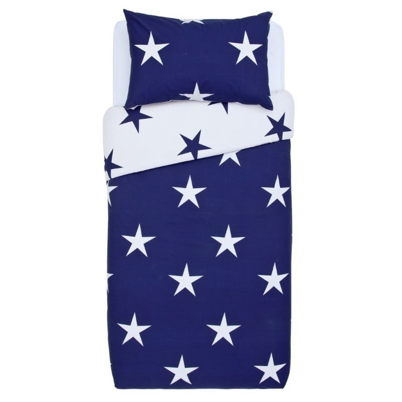 Navy and white bedding set with bold stars pattern