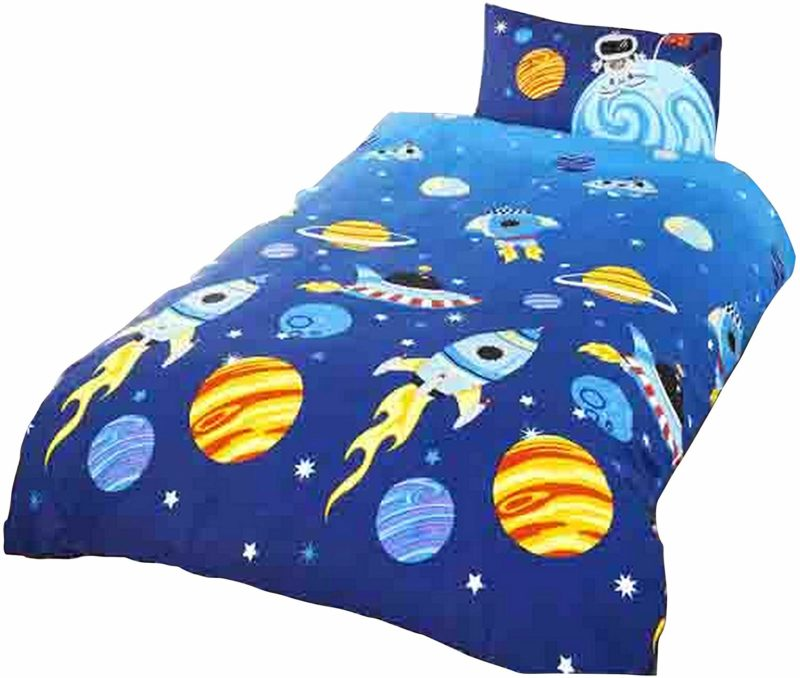 Space rockets themed bedding