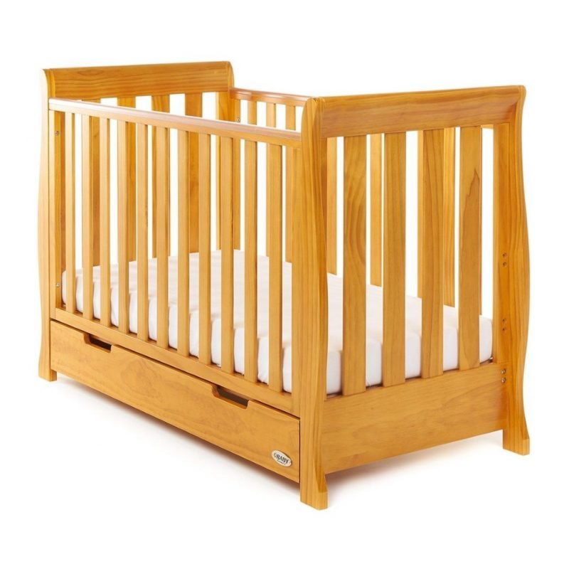 Curved side cot bed with drawer