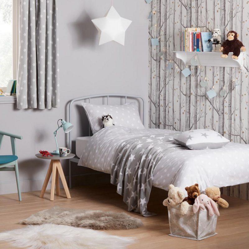 Grey with white stars duvet set