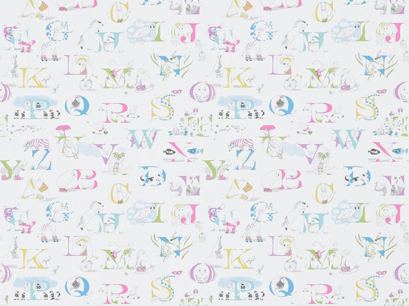 Nursery wallpaper with alphabet letters and animals print