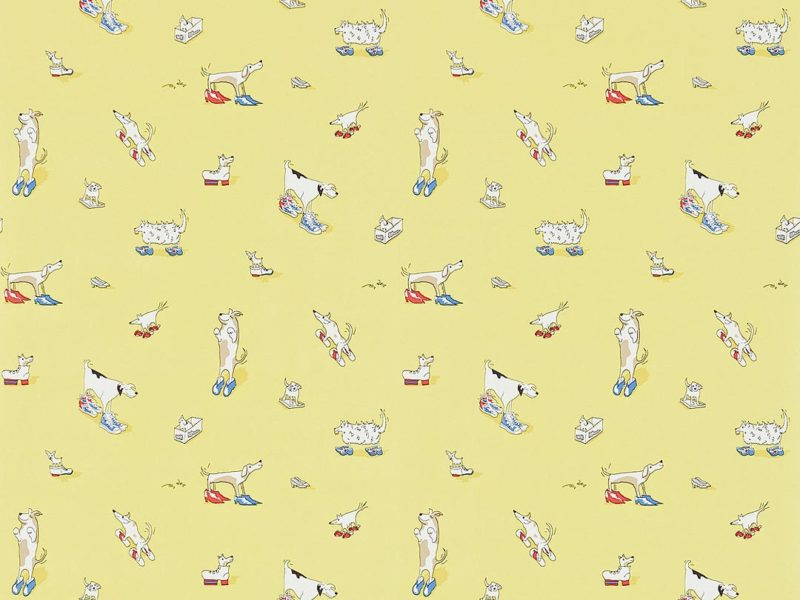 Whimsical wallpaper with cute dogs wearing clogs