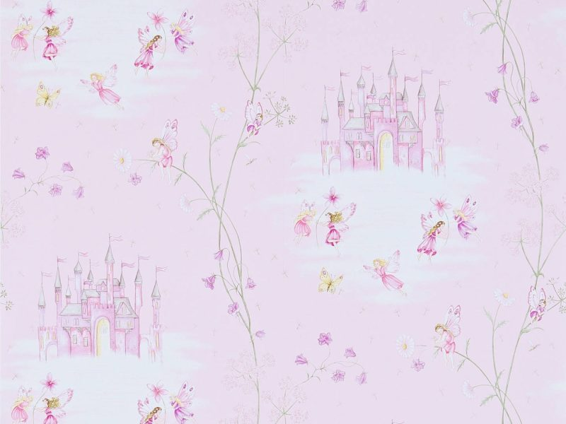 Girl's wallpaper with fairies and castles