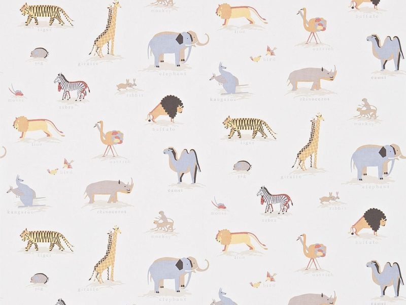 Retro style kid's wallpaper with 2 by 2 animal prints