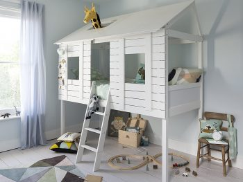 Kid's high sleeper fashioned in the style of a wooden tree house