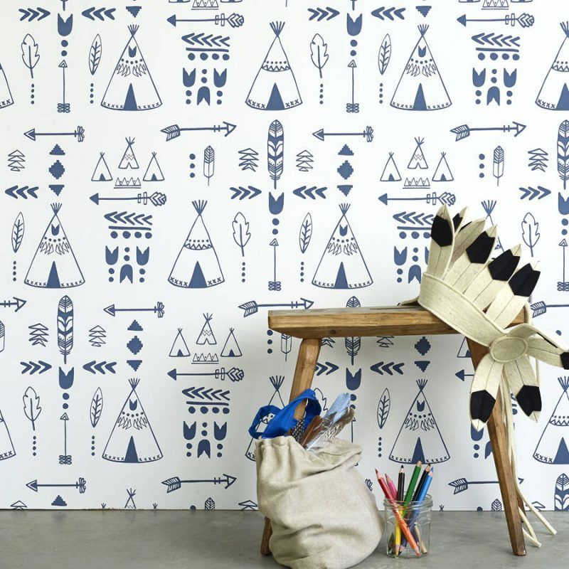 American Indian style paper with prints of teepees and arrows