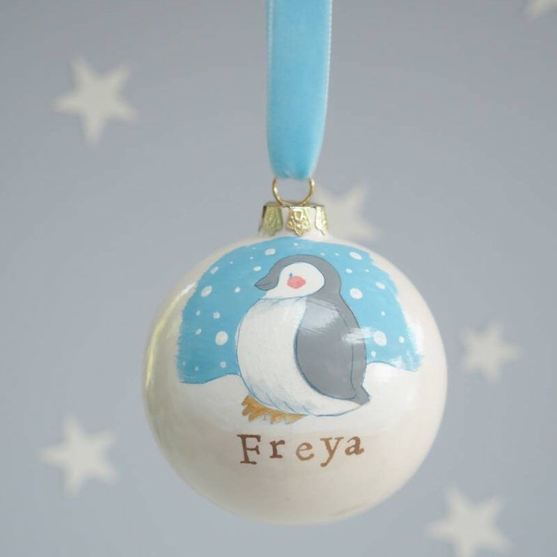 Penguin themed personalised bauble