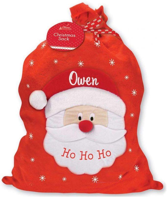 Red santa themed gift sack
