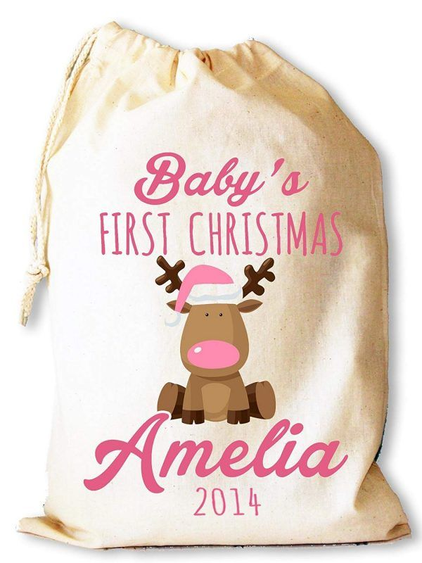 Baby's 1st gift sack with pink lettering
