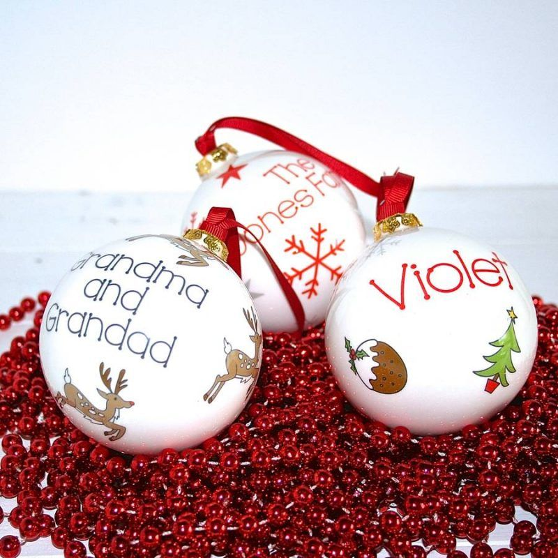 Personalised ceramic baubles