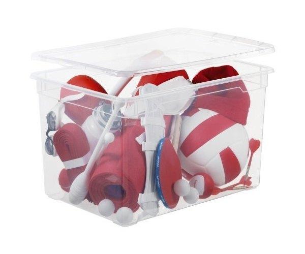Clear plastic storage box
