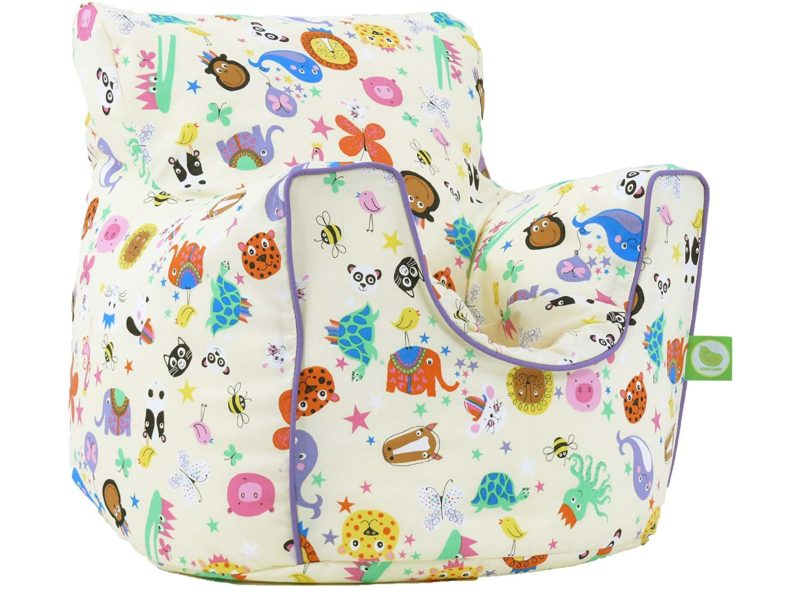 Bean bag chair with cute animal figures printed cover