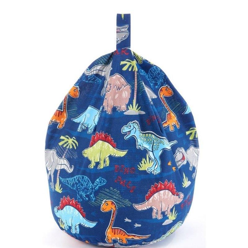 Dark blue bean bag with dinosaur prints