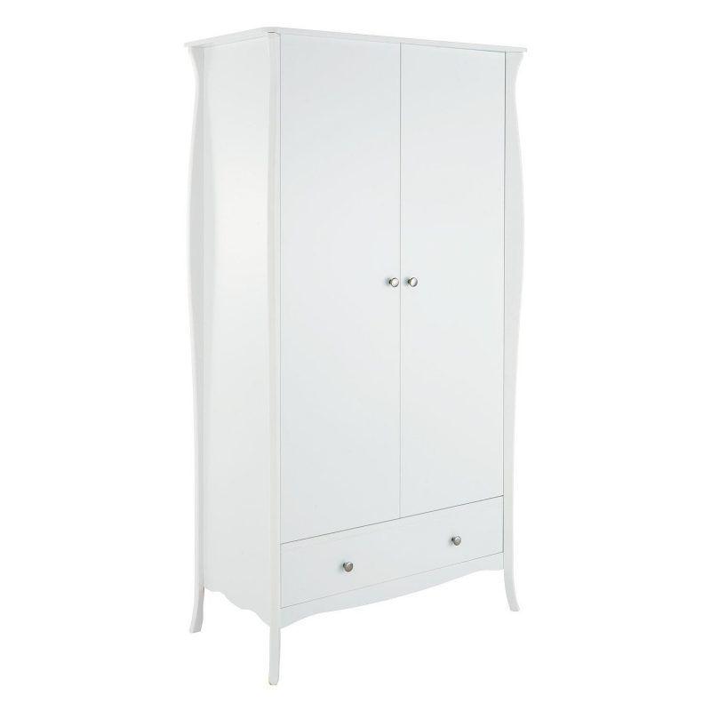 White-painted 2-door wardrobe