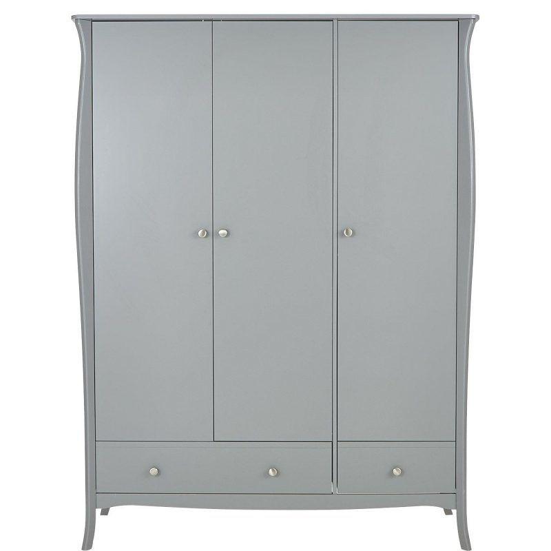 Grey-painted 3-door wardrobe