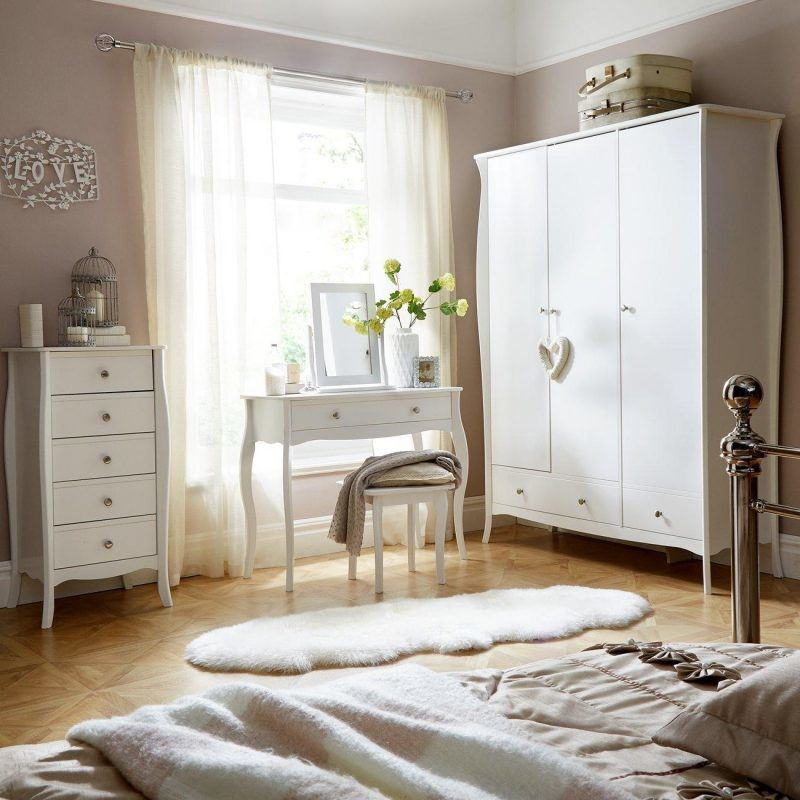 White painted, French-style bedroom furniture