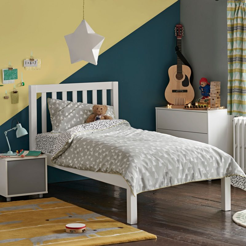 White painted single bed frame