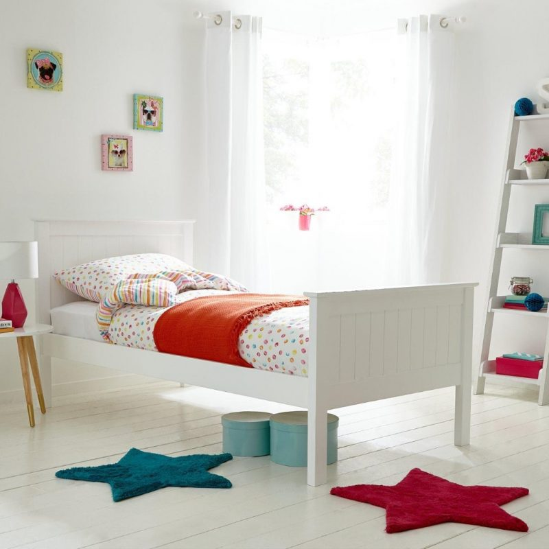 White painted single bed with tongue and groove ends
