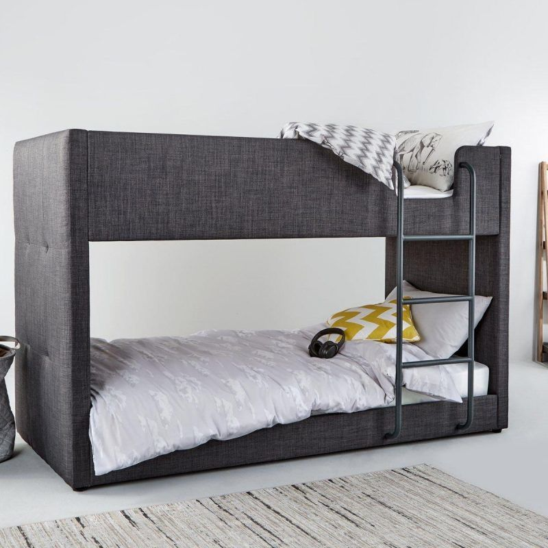 Fabric upholstered bunk bed