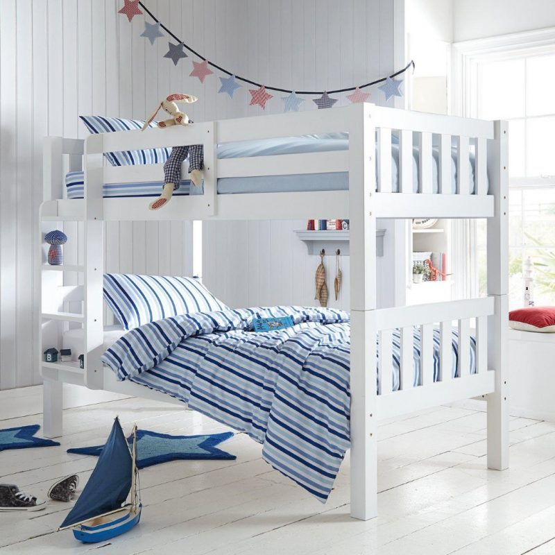 White painted wooden bunk beds