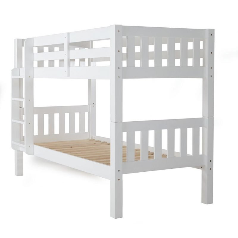 White painted bunk bed with built-on ladder