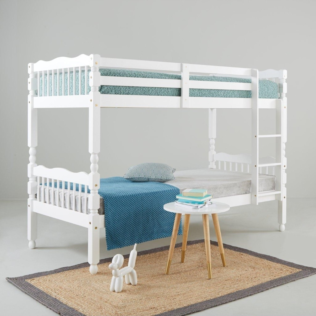 Traditional style spindle bunk bed frame with white painted finish