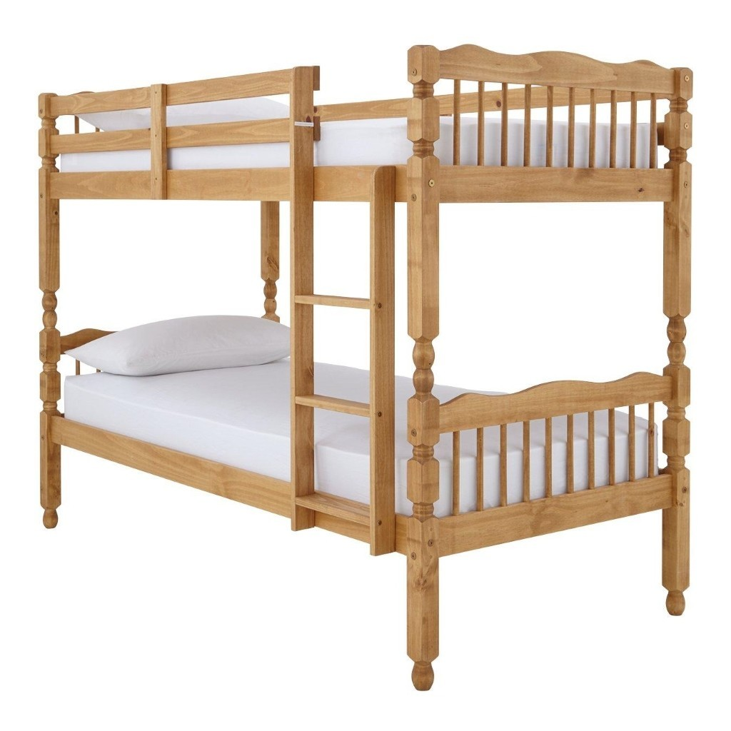 Spindle style bunk bed frame with natural pine finish