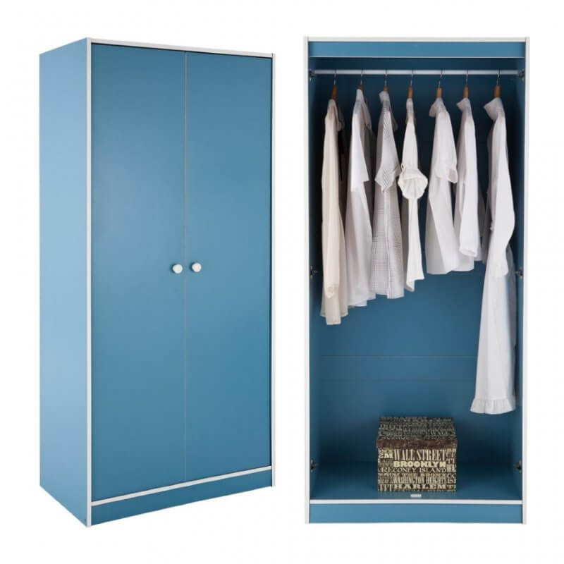 Kid's blue wardrobe, inside and out