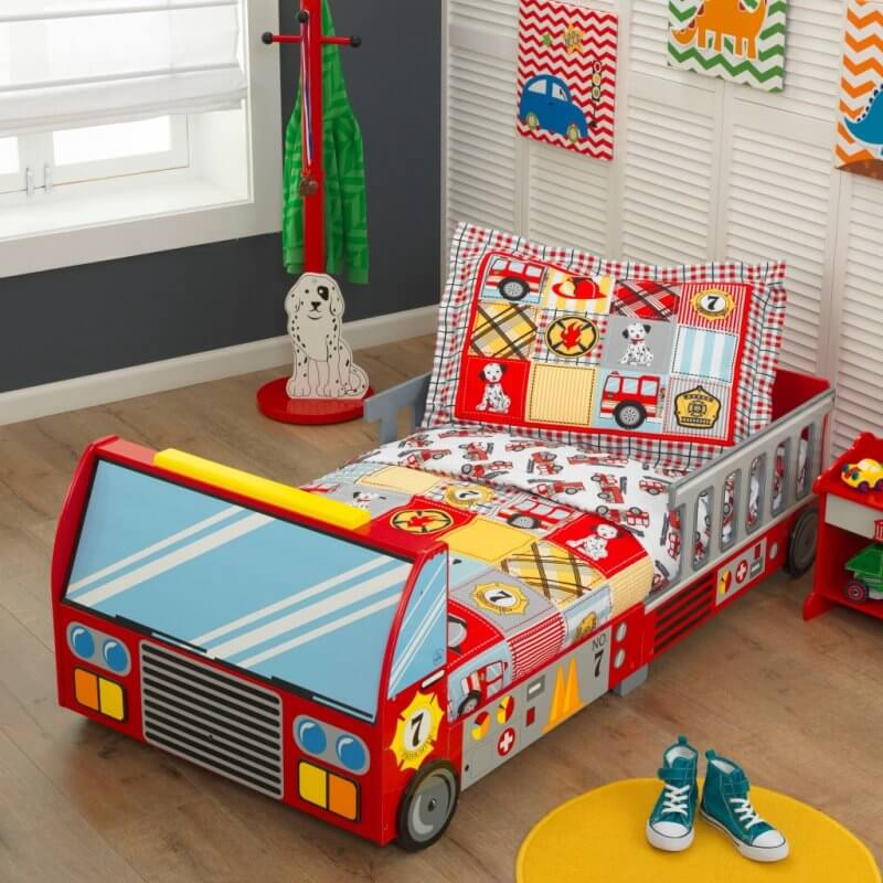 Fire engine themed toddler bed