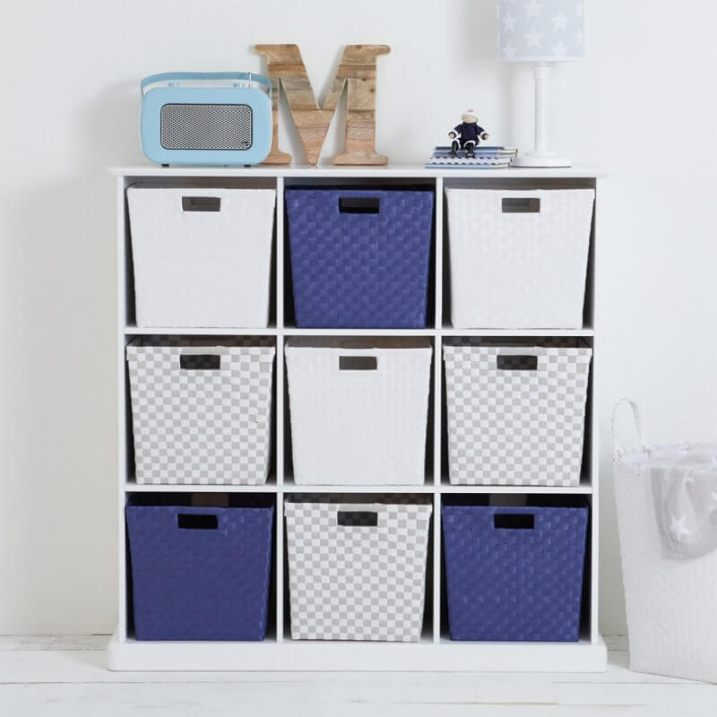 white, grey and blue woven plastic storage bins