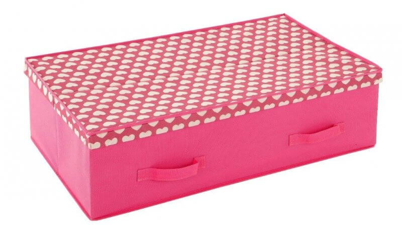 Pink under bed storage box with hearts print top