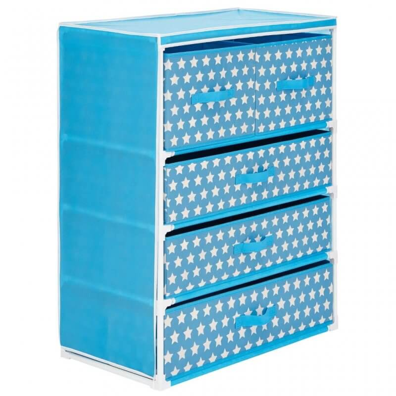 Set of fabric drawers with with white star print pattern