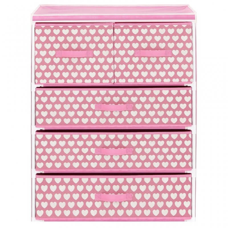 Set of pink fabric drawers with hearts print design