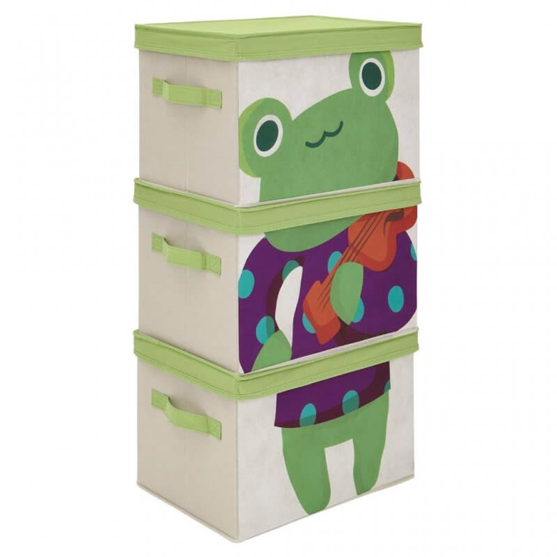 Set of 3 storage boxes with a frog printed on front