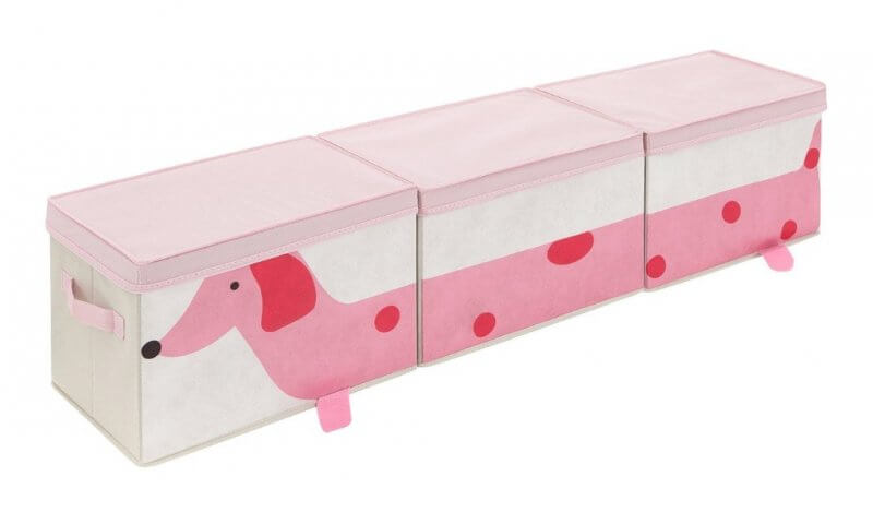 Set of 3 storage boxes with a pink spotted dog printed on front