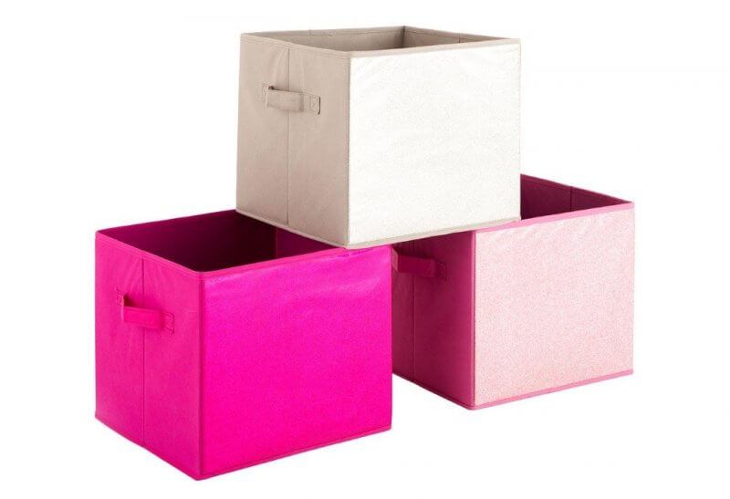 Pink and beige storage boxes with glittery side panels
