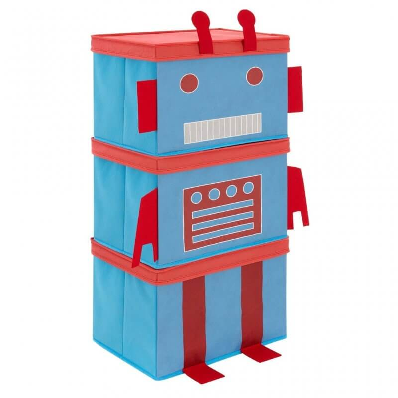 Stackable storage boxes with a robot theme