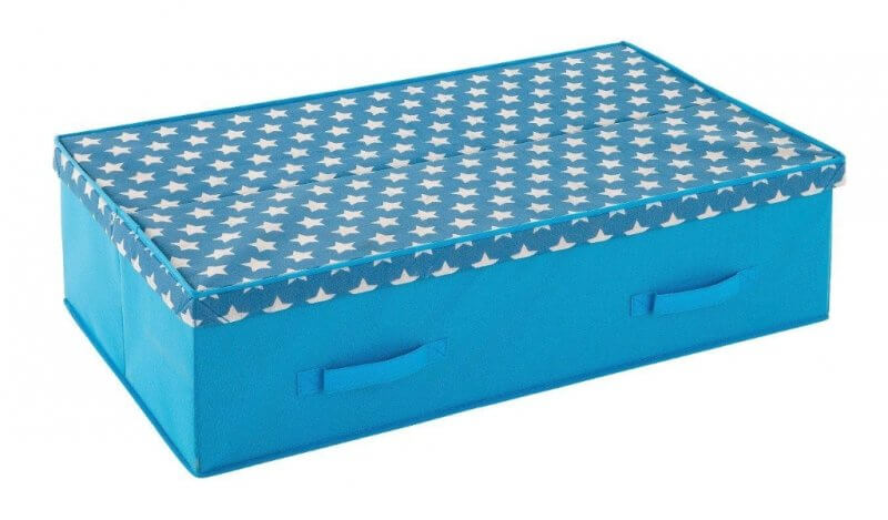Blue storage box with stars print lid