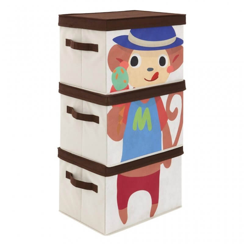 Set of 3 storage boxes with monkey print on front