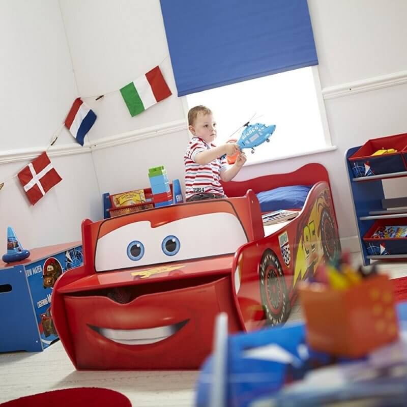 Red car themed toddler bed