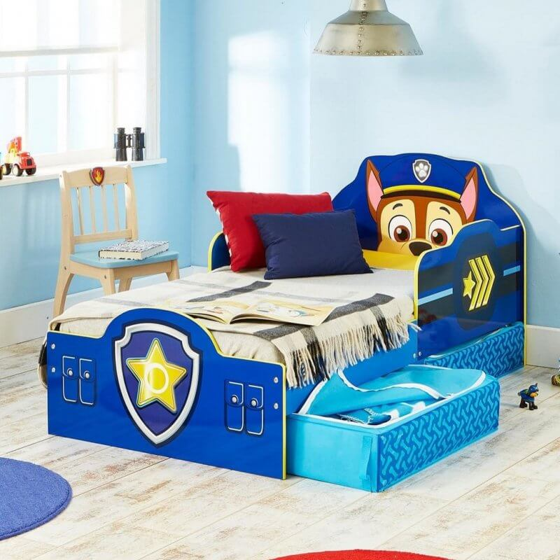 Blue Paw Patrol themed bed with storage