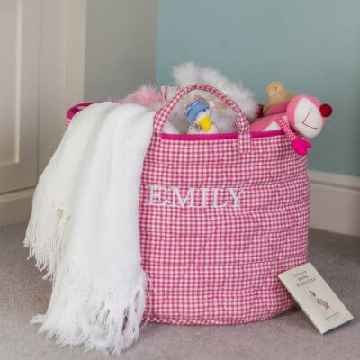 cotton toy hamper in pink gingham