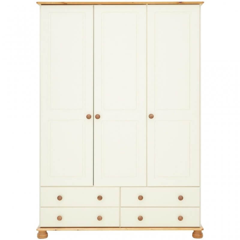 Cream and pine 3 door wardrobe