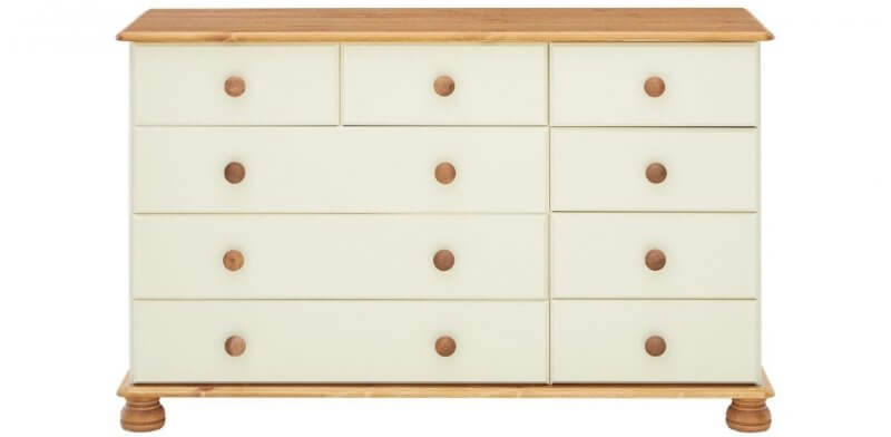 9 drawer pine and cream chest